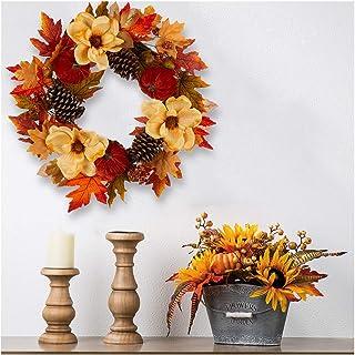 Glitzhome 55.88cm D 开花玉兰花环带天鹅绒南瓜和松树秋季收获花环适用于婚礼、派对、秋季、感恩节、万圣节装饰