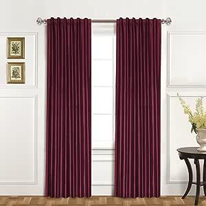 United Curtain 100-Percent Dupioni Silk Window Curtain Panel, 42 by 120-Inch, Burgundy