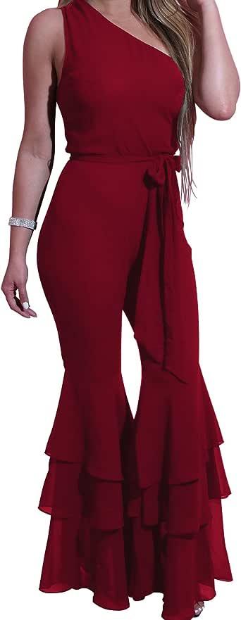 EHNSYZYU 女士性感斜肩派对露背优雅中长连衣裙 *红色 Medium