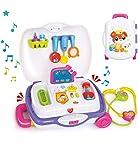 Zooawa 過家家家玩具套裝,內含便攜手提箱,適合男孩和女孩,兒童及學步兒童,適合 3 歲以上兒童 *-白色
