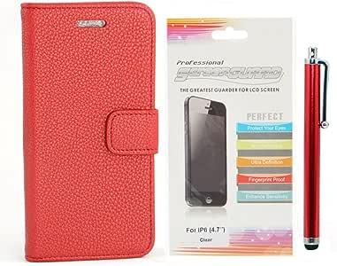 Apexel Lychee 图案 PU 皮革钱包式手机壳带卡片夹,触控笔和高清屏幕保护膜适用于 5.5 英寸 iPhone 6 Plus - 黑色IP6-4716-RED iPhone 6 4.7 14 * 7.3 * 1.7 红色