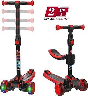 Allek 2 合 1 儿童踢踏板车 D01,防滑 3 轮发光推式滑板车,高度可调,座椅和减震加厚宽踢水板,男女童 2-10(双色红色/黑色)