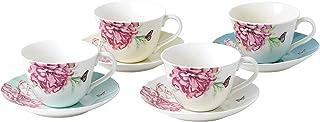Royal Albert Miranda Kerr Everyday 40033997 茶杯和茶碟混合 4 件套,多色,瓷器,茶杯/茶碟套装 4
