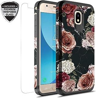 三星 Galaxy J7 V *二代/J7 Refine/J7 Top/J7 Star/J7 Aura/J7 2018 手机壳带钢化玻璃屏幕保护膜,Rosebono 混合图案彩色保护壳适用于 SM-J737 花色