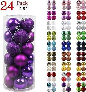 """圣诞球装饰圣诞树防碎圣诞树装饰大号悬挂球 紫色 2.5"""" x 24pcs 6-YH70-HM-XMSBAL-59-25IN-PPL632"""