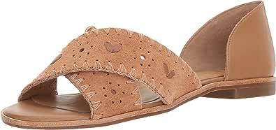 Jack Rogers 女士 Lindsey 麂皮平底凉鞋 Oak/Oak 6.5 M US
