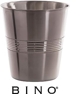 BINO 金属垃圾桶 浴室垃圾桶 适用于卧室、家庭办公室、宿舍、大学、厨房 Corrugated Stripe 71005-SMS