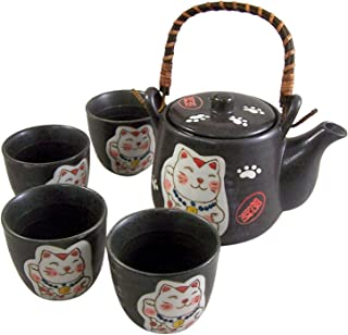 日本白色幸运猫茶套装,带 4 个杯子和茶壶,带注入器