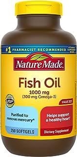 Nature Made 鱼油 1000毫克软胶囊,250粒,有利于心脏(包装可能会有所不同)