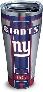Tervis 1317868 NFL 纽约巨人队 - Blitz 不锈钢隔热玻璃杯,带透明黑色锤盖,20 盎司,银色 银色 30 oz - Stainless Steel 1317671