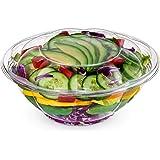 带盖沙拉碗(50 包) - 透明塑料一次性沙拉容器,清新、密封密封 - 玫瑰碗容器 透明 24 oz 43235-50124
