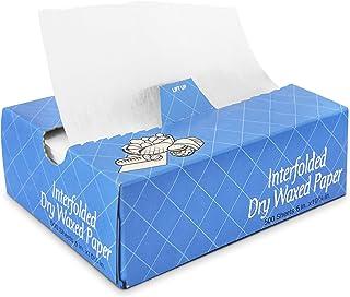 """[500 张装] 交叠食品和快干包装蜡纸带分配箱,烘焙纸纸巾 白色 6 x 10.75"""" unknown"""