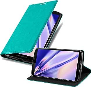 Cadorabo 保护套适用于 Google Nexus 6 书包(设计隐形封口) - 磁扣、支架功能和卡槽 - 钱包式保护套 Etui 覆盖 PU 皮DE-108062 PETROL TURQUOISE