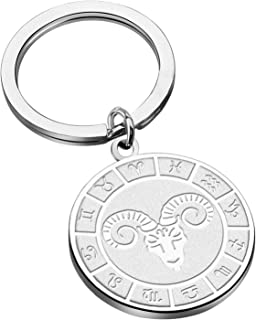 KUIYAI 12 星座钥匙扣星座钥匙扣星座钥匙扣星座钥匙扣生日礼物送给他或他占星术珠宝