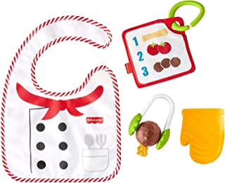 Fisher-Price *可爱的厨师礼品套装,4 个以烹饪为主题的婴儿玩具,带可穿戴围嘴和牙胶,适合 3 个月及以上的宝宝