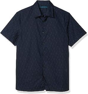 Perry Ellis 男式花卉条纹印花短袖系扣衬衫