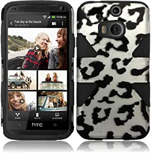 HR Wireless Dynamic Slim Hybrid Case for HTC One M8 - Retail Packaging - Black Chrome Leopard/Black