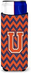 Letter U V 形花纹橙色蓝色超饮料隔热器适用于苗条罐 CJ1042-UMUK