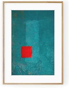 红色和绿松石抽象白色漆木框和底座 多种颜色 40x50 09107-C45ABPP
