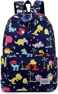 Acmebon 儿童印花背包 男孩女孩可爱学生背包 Dark Blue Dinosaur One_Size