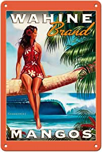 Pacifica Island Art - Wahine Brand Mango - 夏威夷女性 - Wade Koniakowsky 复古广告海报 - 精美艺术印刷品 多种颜色 8 x 12 in Tin Sign MTSAWK104