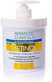 Advanced Clinicals 视黄醇乳膏,沙龙专业人士中心大小,保湿渗透皮肤,消除细纹和皱纹,无香料,16盎司(约453.59克)