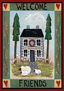 Toland Home Garden Cottage Welcome 28 x 40 Inch Decorative Americana Farm Home Sheep Heart House Flag