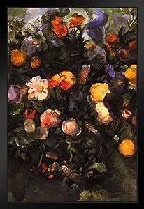 Cezanne Flowers 法国印象派画家静物海报 - 30.48x45.72 艺术印刷品 Multi-color / 6125 Framed in Black Wood 14x20 inch 222247