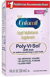 Enfamil 美赞臣Poly-Vi-Sol多种维生素补充剂,适用于婴儿和幼儿,含铁,50 毫升 2片装 2.67