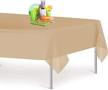 高级塑料桌布54inch. X 30.48cm 。 矩形桌布 dluxware 6–12只装 米色 每包6条