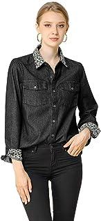 Allegra K 女式豹纹纽扣长袖卷边牛仔衬衫