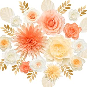 Ling's Moment 大号纸花朵装饰,大丽花玫瑰牡丹组合 14pcs-pink+cream 14PCS