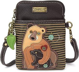 Chala 斜跨手机钱包 - 女式 PU 皮革多色手提包,配有可调节肩带 Two Bears - Olive Stripe 均码