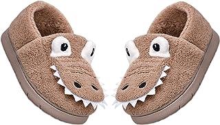 MARITONY 幼儿男孩女孩可爱恐龙拖鞋儿童冬季毛皮衬里保暖家居拖鞋幼儿防滑室内家居鞋