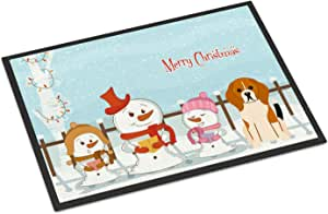 Caroline's Treasures BB2371JMAT 圣诞快乐卡罗伯尔队三色室内或室外垫,60.96 x 91.44 厘米,多色