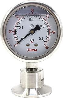 SHYM 不锈钢 2.5 英寸表盘卫生压力表,甘油填充。 0-60 PSI 范围,3.81 厘米三夹底座