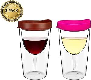 隔热酒杯,带饮料盖,10 盎司,2 件装 红色 粉色 10 盎司