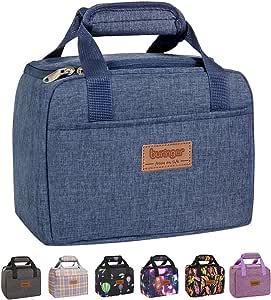 Buringer 可爱保温午餐袋盒冷藏袋,配有前袋,适合女士/男士/学校/工作/野餐 深蓝色