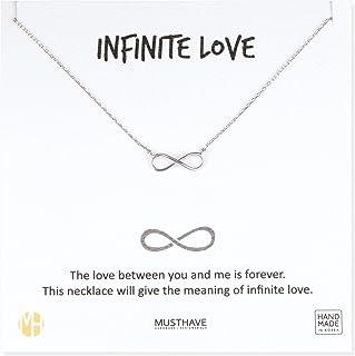MUSTHAVE Infinite Love 18K 镀金项链,附赠信息卡,黄色和白色,锚链链,*好的礼物项链,尺寸 40.64 厘米 + 5.08 厘米延长链,无限爱情吊坠,礼品卡