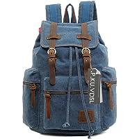 Canvas Backpack, P.KU.VDSL-AUGUR SERIES Vintage Canvas Leather Backpack Hiking Daypacks Computers Laptop Backpacks Unisex Casual Rucksack Satchel Bookbag Mountaineering Bag for Men Women