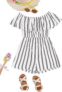 Romwe 女童夏季条纹露肩荷叶边短袖连身裤短款连身裤