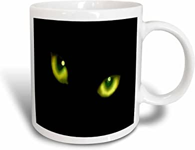 3dRose Green Eyes of a Black Cat Mug, 11-Ounce