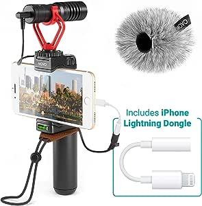 Movo 智能手机视频微型,配有枪支麦克风,手柄手柄,腕带和闪电电子狗,兼容 iPhone 11、11 Pro、XS、XR、X8、7、6S、6、5S、5 和 Android – 适用于Vloging、YouTube