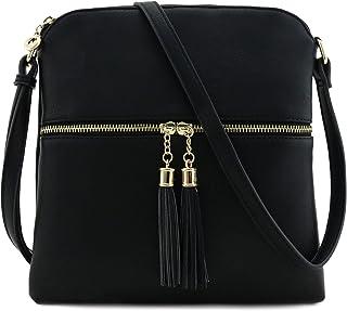 流苏拉链口袋斜挎包 黑色 单一尺寸
