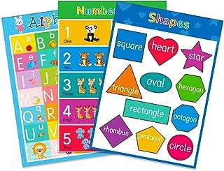 FaCraft 学龄前儿童教育海报,3 件,字母,形状,数字 1-10,完美适合儿童学前幼儿园教室教学
