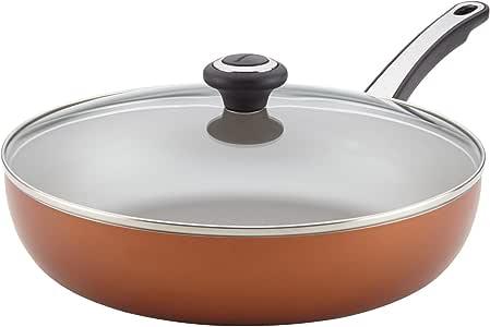 "farberware 洗碗高性能不粘锅盖深煎锅 同色 12"""