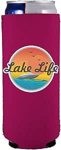 Lake Life Slim Can Coolie 紫红色 12 oz, slim can LakeLifeSlimCanMagenta
