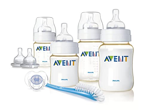 飞利浦 AVENT 新安怡 PES 宽口 奶瓶 安抚奶嘴 奶瓶刷 新生儿12件套装(SCD270/00)(原产地 英国)