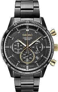 SEIKO 精工 男式日本石英不锈钢表带,黑色,休闲手表(型号:SSB363)