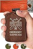 带兜帽应急睡袋 | 超轻,防水,保暖聚酯薄膜睡袋内衬 | 生存野生动物毯 Bivey 适用于远足、徒步旅行、地震、露营、72 个别虫、生存套装 Survival Orange Emergency Sleeping Bag